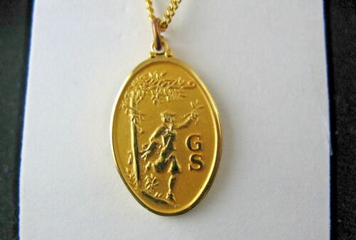 RARE 24K G.P. NECKLACE, Running Silhouette Girl Scout w/Bloomers COLLECTOR GIFT