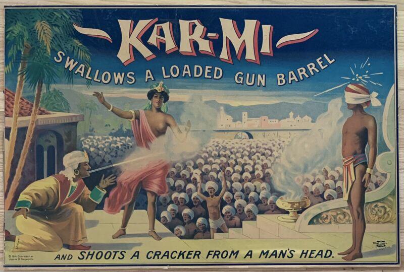 "KAR-MI Original Vintage 1914 Magic Poster ""Swallows Loaded Gun..."" Bright Colors"