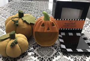 Halloween items, candy dish, dessert plates and plush pumpkins
