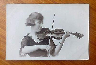 Vintage* Lady with a violin and bow.  E. Wilkinson, 86, Talbot Road, Blackpool