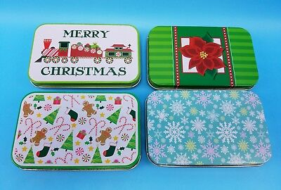 Christmas Gift Card Tins Set 4 Snowflakes Poinsettia Train Gingerbread Multi-Use