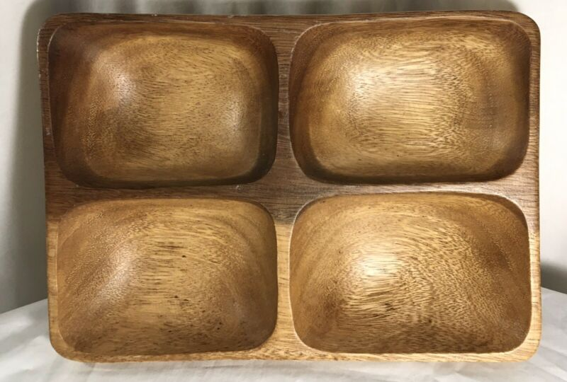 Monkey Pod Wooden 4 Section Tray Vintage Serving