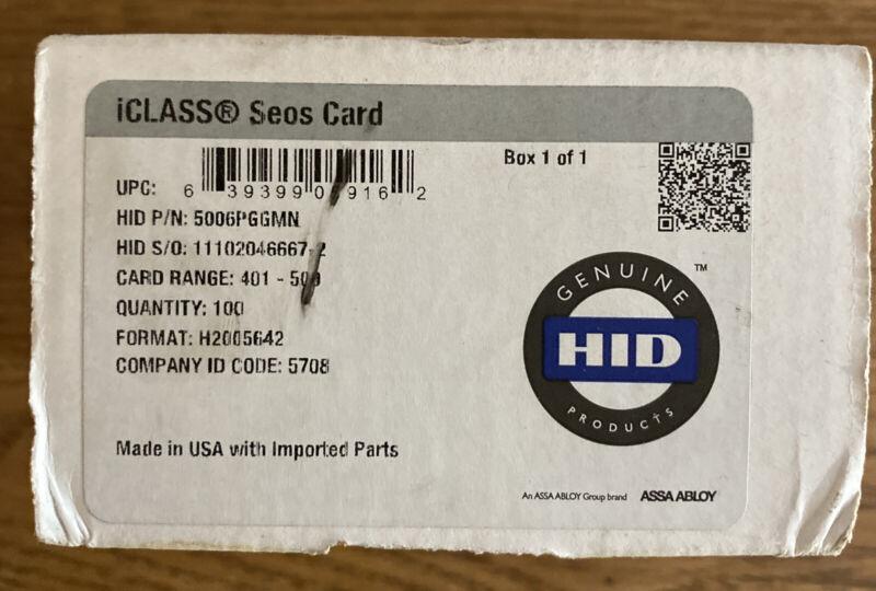 HID 5006PGGMN iCLASS Seos Card White w/ Gloss Finish Pack Of 25