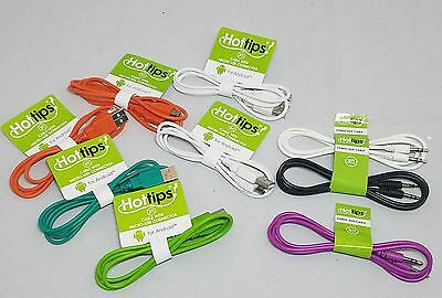LOT OF 9 HOTTIPS STERO AUX CABLE 3FT MICRO-USB CONNECTOR ANDROID ASSORTED COLORS