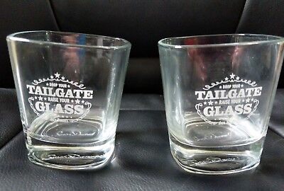 """set of 2 Unusual Jack Daniels glass- """"Drop Your Tailgate Raise Your Glass""""-"""