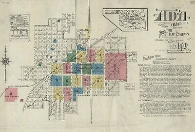 Ada, Oklahoma~Sanborn Map© sheets with 45 maps  in full color~1902 to 1920