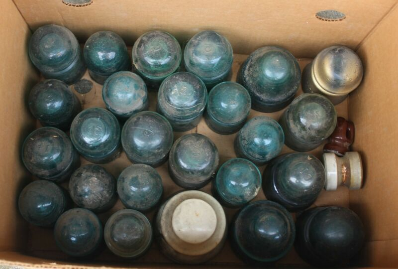 LARGE LOT OF ( 55 ) ASSORTED GLASS INSULATORS AS FOUND