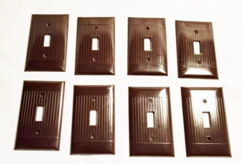 Lot Vtg Switch Plate Covers Ribbed Brown Art Deco  Bakelite Set of 8