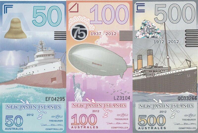 New Jason Islands 3 Note Set: 50, 100 and 500 Australes UNC