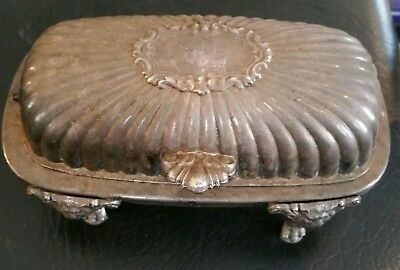 1883 F.B. Rogers Silver Co. Silverplate Roll Top Lion Footed Butter Dish #357