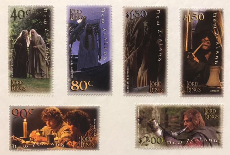 NEW ZEALAND LORD OF THE RINGS FELLOWSHIP OF THE RING STAMPS SET 6V 2001 MNH