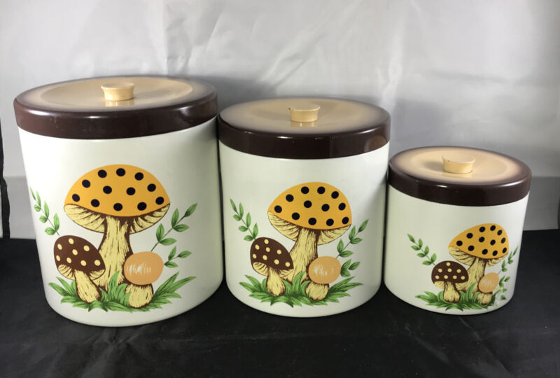 Vintage 3 Piece Merry Mushroom Canister Set