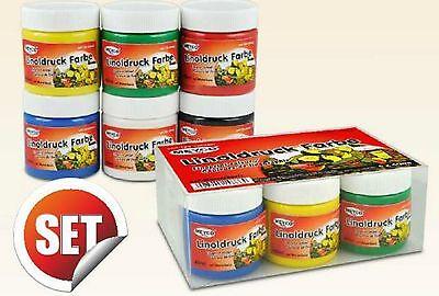 Linol Linolfarbe Set  6 x 40 ml ( GRUNDPREIS 100 ml. 5,82 € )  Linoldruckfarbe