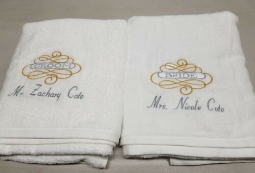 Wedding Bride and Groom Towel Set Personalized Wedding Brida