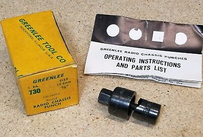 Greenlee No. 730 - 58 Diameter Punch And Die Set - Radio Chassis Punch