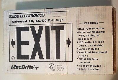 - Red Exit Sign - Universal AC, AC/DC Exit Sign - Exide Electronics - EX Series