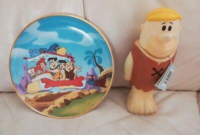 Barney Rubble FULL Bubble Bath Bottle 1993 + Tags & The Flintstones Ltd Ed Plate