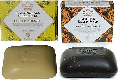 Nubian Heritage -1- Afri- Black Soap &1- Lemongrass Soap - 5oz Bars/ Shea Butter