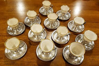 Sterling silver demitasse set, service for 12 made by Alvin includes saucers