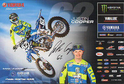 JUSTIN COOPER SIGNED AUTO'D 11X17 PHOTO POSTER AMA SUPERCROSS MONSTER YAMAHA