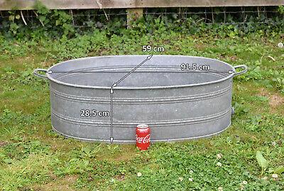 vintage old galvanized bath metal bath tub dog washing - 91.5 cm -FREE DELIVERY