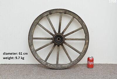 Vintage old wooden cart wagon wheel  / 61 cm / 9.7 kg - FREE DELIVERY