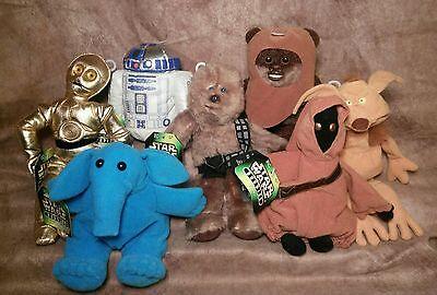 Star Wars plush stuffed toy lot Wicket Ewok Jawa Rebo Buddies Crumb C3PO lot