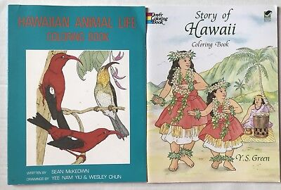 Lot Of 2 Hawaii Coloring Books Dover The Story Hawaiian Animal Life