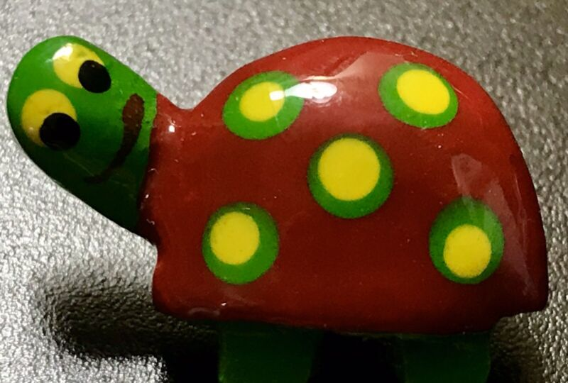 """Colorful Unique Realistic Wood TURTLE Button Whimsical  1"""""""