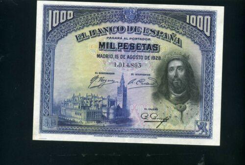 Spain 1000 pesetas 1928  - XF