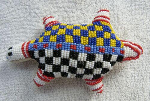 Beads Beadwork Lakota Sioux Indian Turtle Fetish Figure Beaded Leather Design