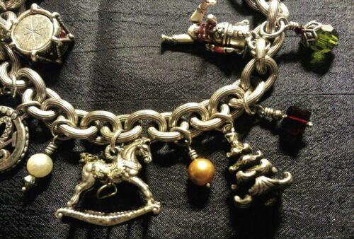 "Vintage Brighton Christmas Holiday Joy Charm Bracelet & Charms, 8.50"", Movers"