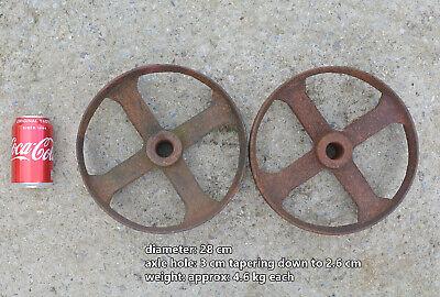 pair of iron wheels shepherd / chicken hut antique old trolley wheel 28 cm