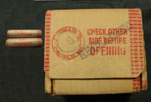 (TWO) Original Wheat Penny Rolls From Sealed Shipping Box 1800s-1958 PDS.