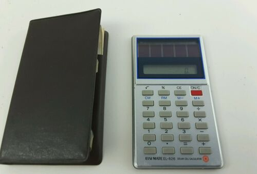 Vintage Sharp ELSI MATE EL-826 SOLAR CELL CALCULATOR WITH INSTRUCTIONS