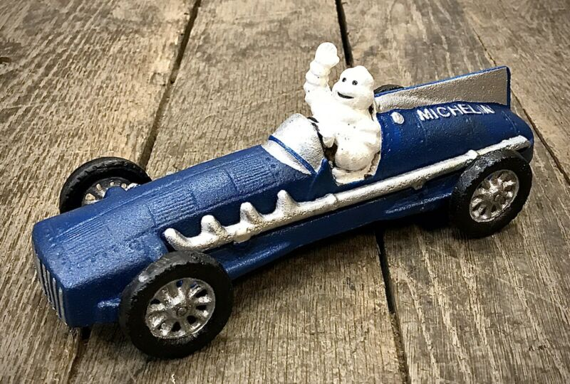 Michelin Man Bibendum Vintage Cast Iron Blue Race Car