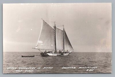 Oyster Schooner RPPC Mississippi Gulf Coast—Rare Vintage Sailboat Sailing Photo