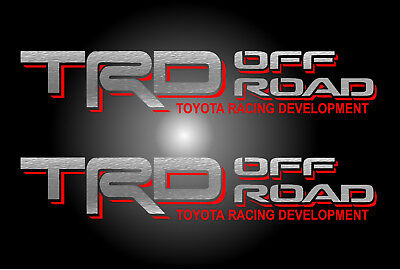 TRD OFF ROAD Silver Red Decals Vinyl Stickers Toyota Graphics Letters Truck Logo