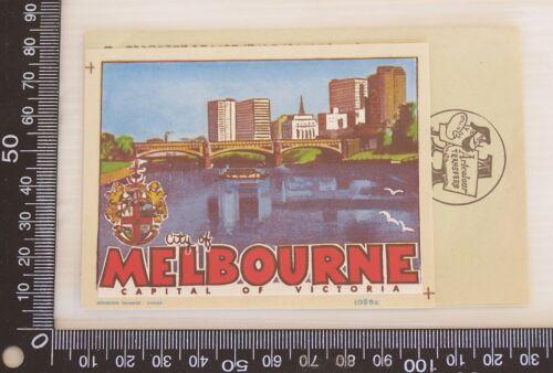 VINTAGE CITY OF MEBOURNE VICTORIA AUSTRALIA 60s SOUVENIR ARTCOLOUR CAR TRANSFER