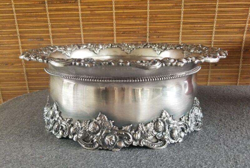 E G Webster & Son Silver Plate Cache Flower Pot Centerpiece Wine Chiller ca.1890