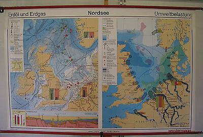 Schulwandkarte Wall Map School Role North Sea Erdöl Natural Gas Environment