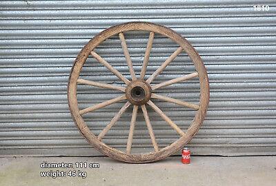 Vintage old wooden cart wagon wheel  / 111 cm / 46 kg  #
