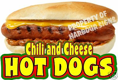 Chili And Cheese Hot Dogs Decal 14  Concession Food Truck Van Menu Vinyl Sticker