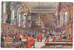 LONDON - ROYAL HOSPITAL, CHELSEA, The HALL Tuck Postcard C.FLOWER Artist