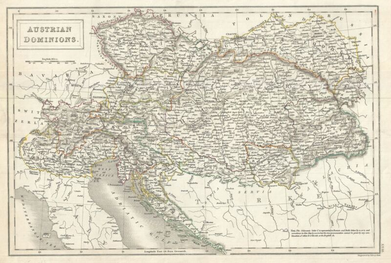 1844 Black Map of the Austrian Empire