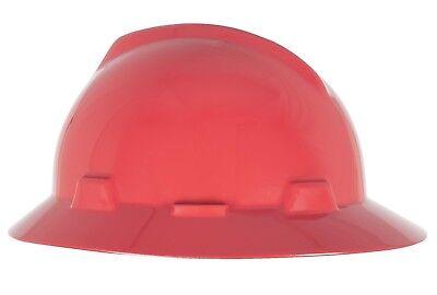 Msa V-gard Full Brim Hard Hat With Fas-trac Ratchet Suspension Red