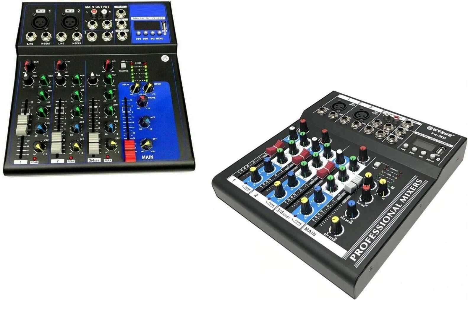 MIXER AUDIO PROFESSIONALE 4 CANALI USB CON ECHO-DELAY dj karaoke pianobar
