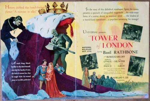 TOWER OF LONDON, B. Rathbone, Boris Karloff, 1939, Universal Campaing Book #679
