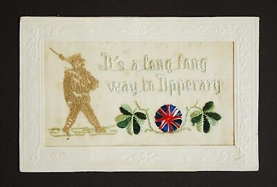 WW1 Silk Postcard Tommy Atkins Soldier Rifle Bayonet Its a Long Way To Tipperary