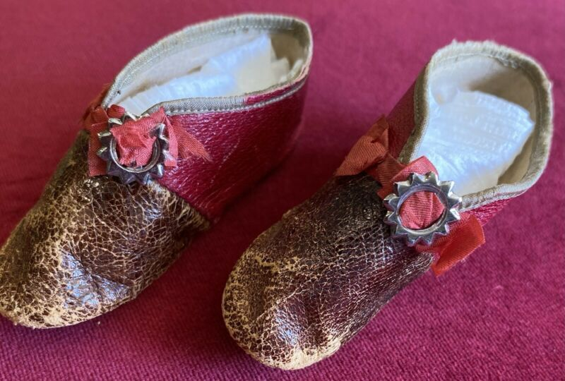 Rare Two Tone Antique Doll Shoes For Antique Bisque or Early Lady Doll